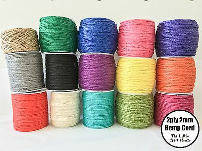20m / 40m 100% Hemp Twine 2ply 2mm Assorted Colour Cord String Coloured Macrame