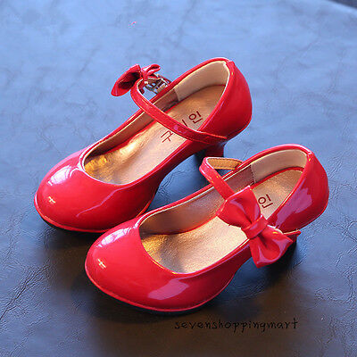 New Kids Girls Red High-heeled Shoes Princess Party Wedding Dress Shoes Size