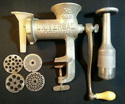 Antique Vintage Clamp On Universal Meat Chopper #333 Hand Crank w Pusher!