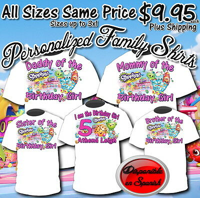 New Custom Personalized Family Shopkins Birthday T Shirt Add Name