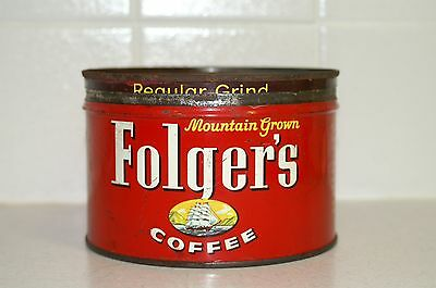 Vintage FOLGER'S COFFEE Key Can 1LB. Red Coffee Tin 1959 SHIP LOGO with lid!