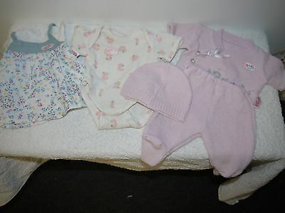 baby born doll clothes original onsesie 3 piece winter pink knitted  set & dress