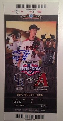 Trevor Story Signed / Autographed Baseball Ticket MLB Debut Colorado Rockies