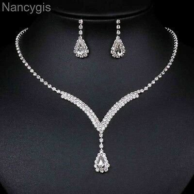 Full Rhinestone Curved V Teardrop Necklace and Earrings Wedding Jewellery Set