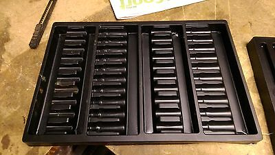 Artist storage box moulded plastic inserts for tubes,pastels,water colours 2 off