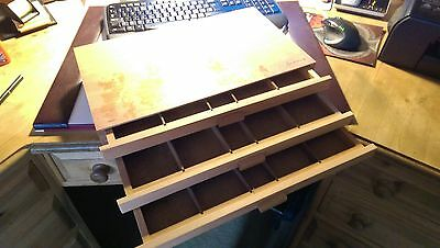 3 Drawer Wooden Chest desktop tidy - 400 x 260 x 82mm - 5 divisions per drawer