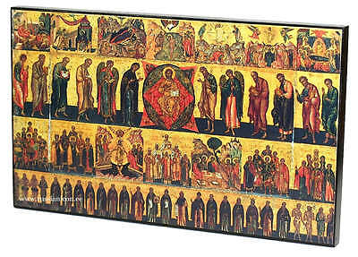 BIG RARE RUSSIAN ORTHODOX ICON – ALL THE CHURCH WITH YOU. STYLE XVI cent. WOOD .