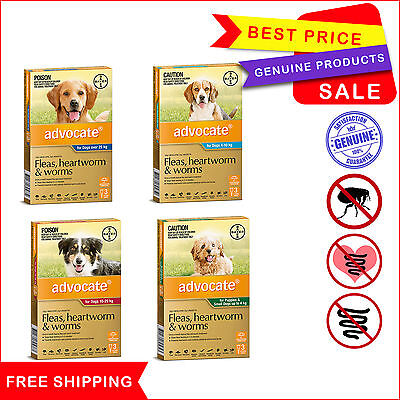 Advocate for Dogs 3 Pipettes Flea Heartworm and Worm treatment All Sizes