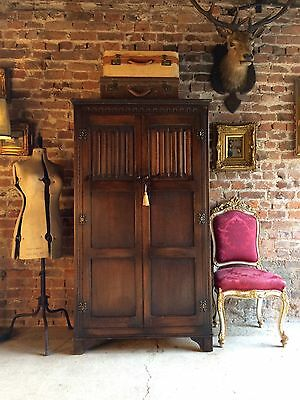 Stunning Antique Style Single Wardrobe Carved Solid Oak Gothic Style Old Charm