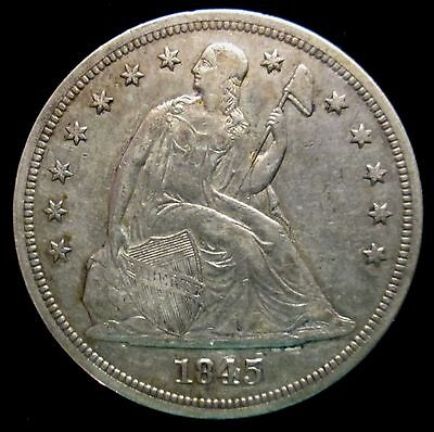 1845 ~ Seated Liberty Silver Dollar $1 ~ Key Date Low Mintage Coin Only 24,500 !