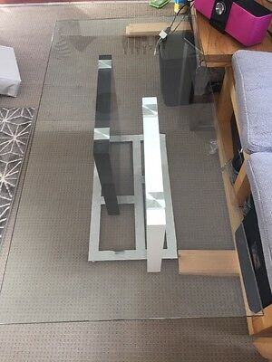 Glass Top Coffee Table Black And White Base With Silver