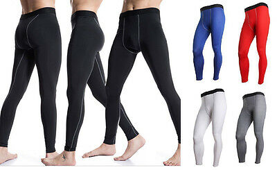 Mens Sports Gym Skin Tights Compression Base Under Layer Pants Fitness Trousers