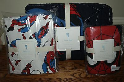 NWT Pottery Barn Kids Spiderman twin quilt, standard sham & white twin sheet set