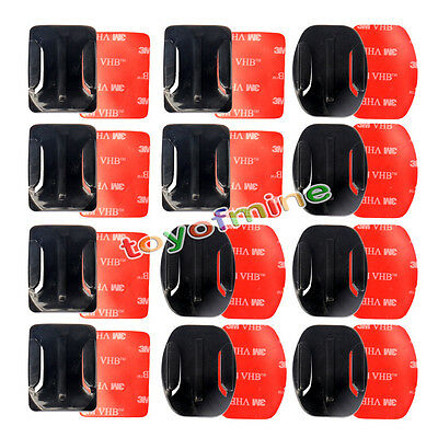 12Pcs Helmet Accessories Flat Curved Adhesive Mount For Gopro Hero 1/2/3 /3+/4