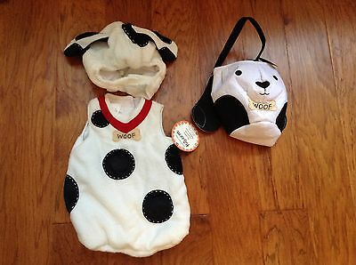 2 Pc Pottery Barn Kids New Spotted Dog adorable Halloween costume & Treat Bag si