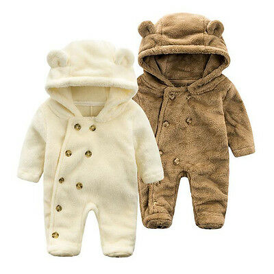 Newborn Baby Boy Girls Cotton Winter Warm Romper Hooded Jumpsuit Playsuit Outfit