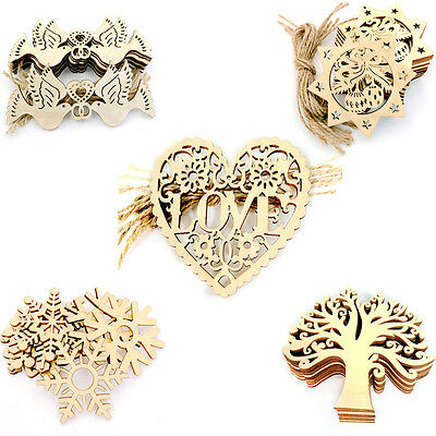10pcs Wooden Christmas Xmas Tree Hanger Decorations Scrapbooking Wood Craft