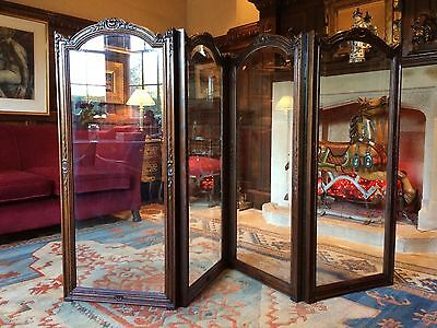 Sublime Antique Four Fold Fire Screen Victorian 19th Century Bevelled Glass WOW!