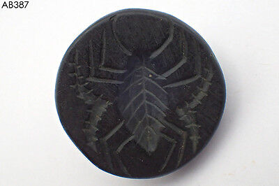 Rare Ancient Huge Bactrian Spider Intaglio Black Stone Stamp #387