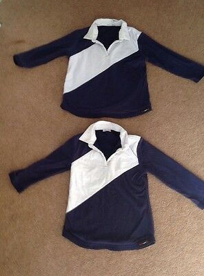 2 X Child's Long Sleeved P.E / Rugby Shirts Navy / White 1 X S , 1 X L