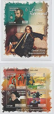 Solomon Islands Great Post Impressionists 'Emile Bernard 2 Stamp Sheets 2013 U/M