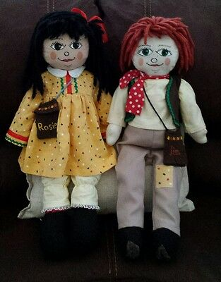 ♡MUST SEE Collectors item Large 28 inch Vintage Rosie and Jim Plush RagDolls ♡