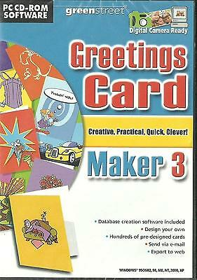 Greetings Card Maker 3 PC CD ROM Green Street NEW & SEALED Free 1st Class P&P