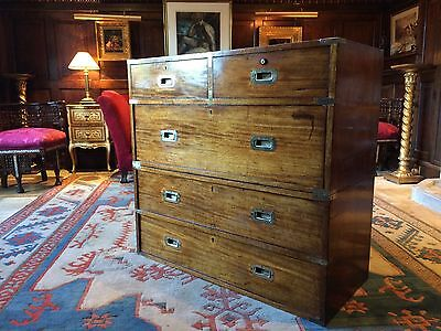 Magnificent Antique Campaign Chest of Drawers Dresser Victorian 19th Century No1