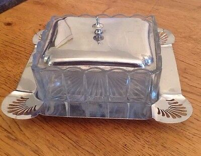 Vintage Art Deco Silver Plated Epns Butter Dish With Cut Glass Bowl
