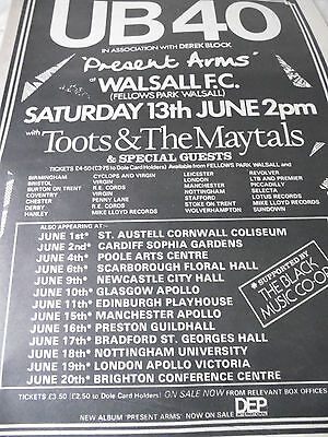 """Ub 40 Walsall F.c. """"present Arms"""" Gig Advert From 1982 Toots & The Maytals"""