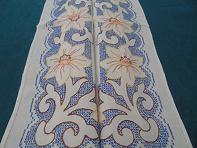 Vintage Hand Embroidered  Table Cover.Big Lilys,Lovely cross Stitch