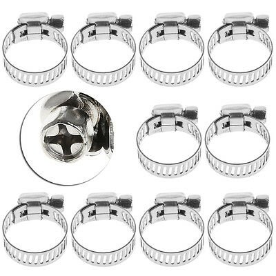 """10Pcs Adjustable Stainless Steel Drive Hose Clamp Fuel Line Worm Clip 3/8""""-1/2"""""""