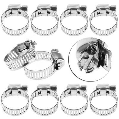 """10Pcs Stainless Steel Adjustable Drive Hose Clamp Fuel Line Worm Clip 3/8""""-1/2"""""""