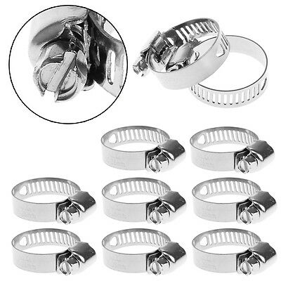 "10Pcs Stainless Steel Adjustable Drive Hose Clamp Fuel Line Worm Clip 3/4""-1"""
