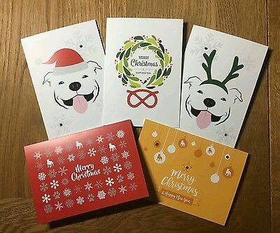 **Staffordshire Bull Terrier Christmas Cards. Pack of 10. ***