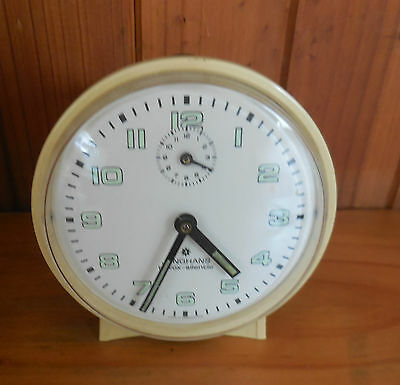 Vintage JUNGHANS ALARM CLOCK BLUE  GERMANY EARLY 60s RARE  luminous dial