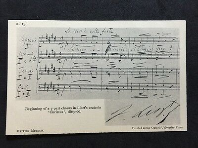 Vintage Postcard - Song Card #18 - British Museum - Liszt's
