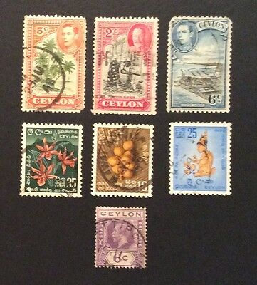 Vintage Ceylon / Sri Lanka Postage Stamps ( 7 in collection)