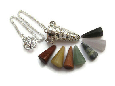 7x Chakra Crystal Gemstone Cone in Silver Om Cage Precision Pendulum Set Healing