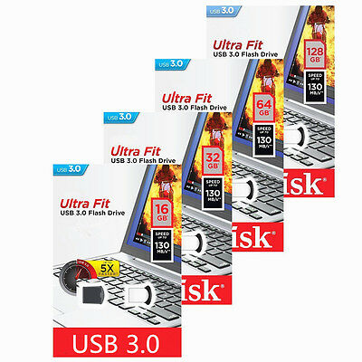 SanDisk 8GB 16GB 32GB 64GB 128GB Ultra Fit USB 3.0 130 MB/s Flash Drive Memoria