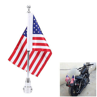 Chrome Motorcycle Rear Side Mount Flag Pole USA Flag For Harley Luggage Rack
