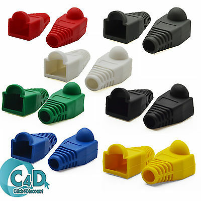 RJ45 Connector Boot - Cat5e Cat6 Ethernet Network Patch Cable 7 Colour BOOTS lot
