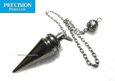 Santa Muerta Wiccam Black Metal Precision Pendulum with Chain Dowsing Divination