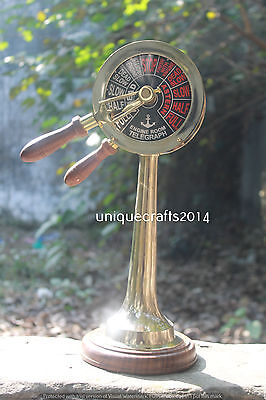 Brass Ship Engine Order Telegraph With wooden Base Maritime Working Gift Item.