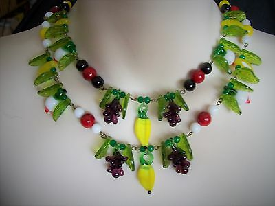 Vintage 1940s 1950s Reproduction Rockabilly Fruit Necklace - White