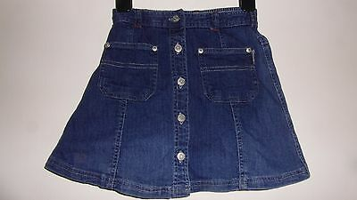 Pretty denim skirt for 6 yr old, button front, elasticated waistband