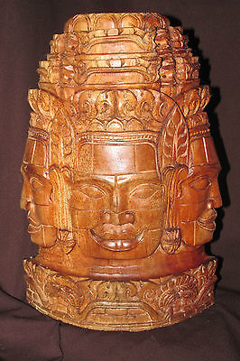 Buddha Face Solid Wood Carved Wall Plaque / Timber Hanging Asian India 30CmT