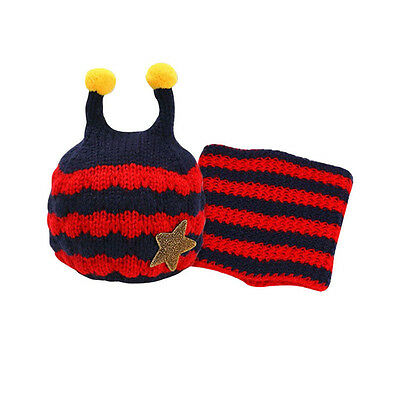 Lovely Winter Baby Kids Warm Hat Hooded Scarf Earflap Knitted Bee Animal Head Ac