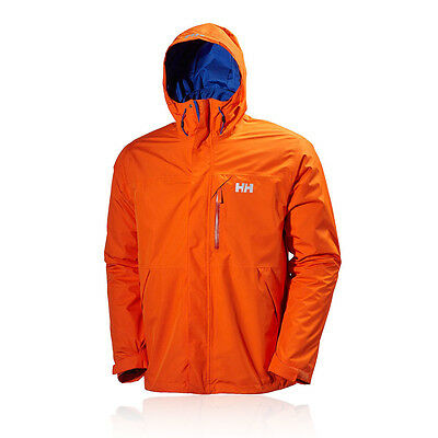 Helly Hansen Squamish Hombre Naranja Impermeable Resiste Viento Running Chaqueta
