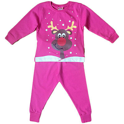 Girl Baby Toddler Christmas Rudolph Reindeer Novelty Print Long Sleeve Pyjamas